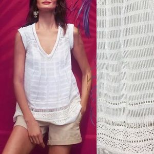 Anthro Maeve Ladder Lace White Blouse